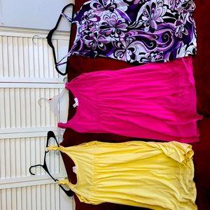 Yellow pink purple with designs mini dress